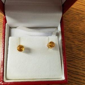 Yellow Citrine Stud Earrings